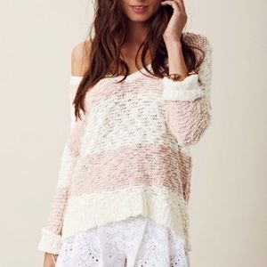 Free people Pink and white sweater